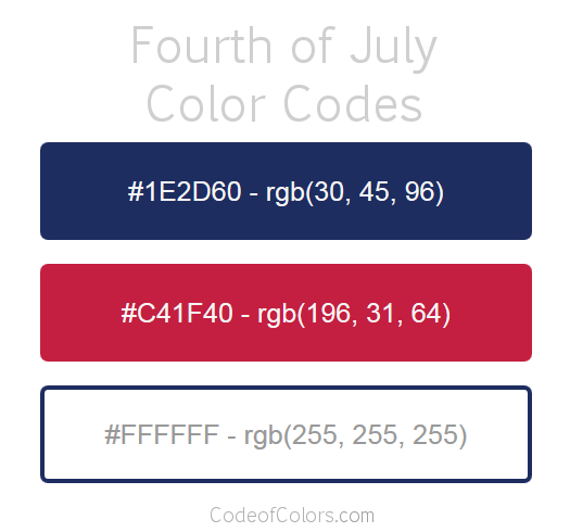Fourth of July Color Palette and Scheme