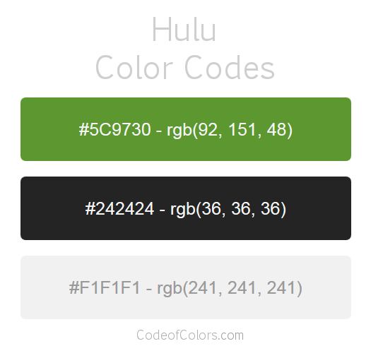 Hulu Logo and Website Color Codes